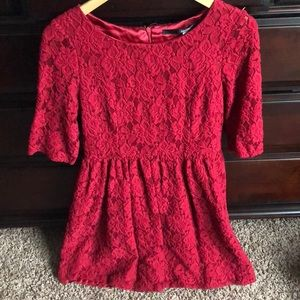 Kensie 3/4 Sleeve Lace A-line Dress in Dark Berry